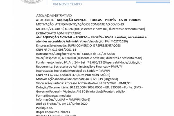 EXTRATO  AVENTAL - TOUCAS - PROPÉS e OUTROS - COVID