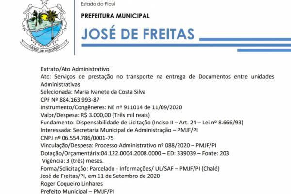Ato Administrativo Ato: Serviços de prestação no transporte na entrega de Documentos entre unidades Administrativas Selecionada