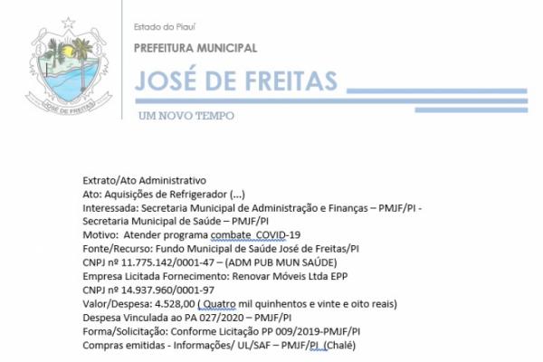 Despesa Vinculada ao PA 027/2020 – PMJF/PI | Ato: Aquisições de Refrigerador