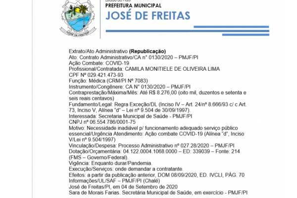 Ato: Contrato Administrativo/CA n° 0130/2020 – PMJF/P