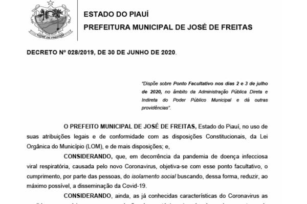 DECRETO Nº 028/2019, DE 30 DE JUNHO DE 2020. PONTO FACULTATIVO