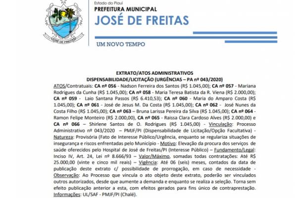 EXTRATO/ATOS ADMINISTRATIVOS DISPENSABILIDADE/LICITAÇÃO (URGÊNCIAS – PA nº 043/2020)