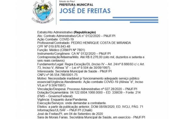 Ato: Contrato Administrativo/CA n° 0132/2020 – PMJF/PI