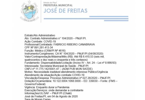 Extrato/Ato Administrativo Ato: Contrato Administrativo n° 104/2020 – PMJF/PI.