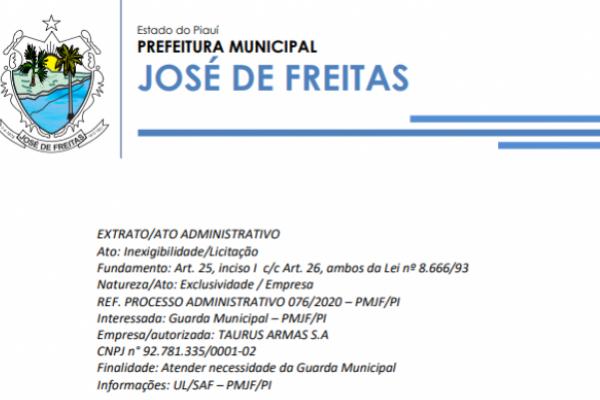 Inexigibilidade/Licitação | REF. PROCESSO ADMINISTRATIVO 076/2020 – PMJF/PI