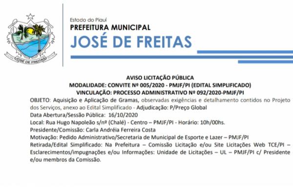 AVISO LICITAÇÃO PÚBLICA  MODALIDADE: CONVITE Nº 005/2020 - PMJF/PI (EDITAL SIMPLIFICADO)  VINCULAÇÃO: PROCESSO ADMINISTRATIVO Nº 092/2020-PMJF/PI