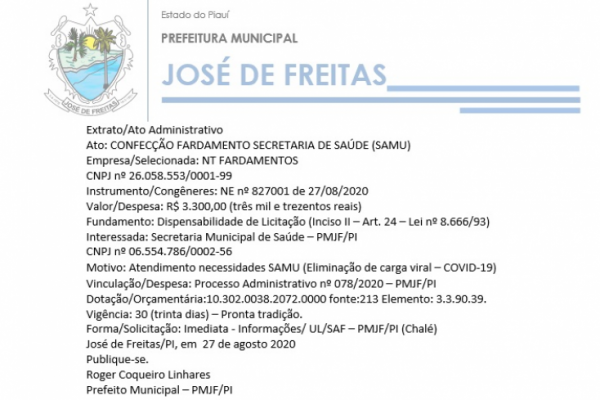 Ato: CONFECÇÃO FARDAMENTO SECRETARIA DE SAÚDE (SAMU)