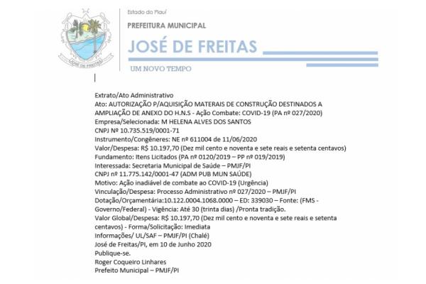 Ato: AUTORIZAÇÃO P/AQUISIÇÃO MATERAIS DE CONSTRUÇÃO DESTINADOS A AMPLIAÇÃO DE ANEXO DO H.N.S - Ação Combate: COVID-19 (PA nº 027/2020)