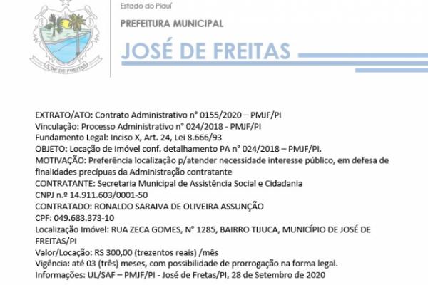 EXTRATO/ATO: Contrato Administrativo n° 0155/2020 – PMJF/PI  Vinculação: Processo Administrativo n° 024/2018 - PMJF/PI