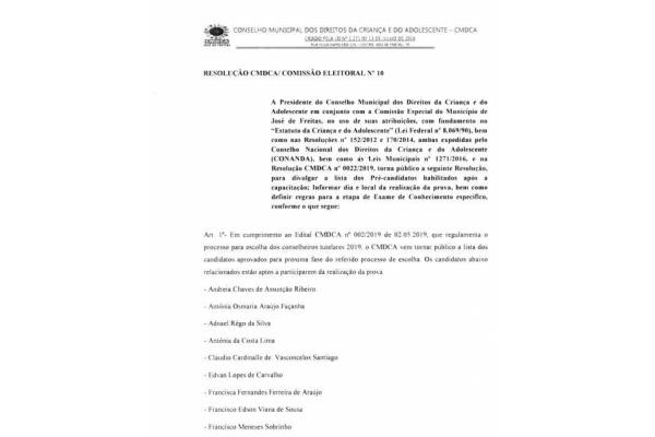 RESOLUÇÃO CMDCA/ COMISSÃO ELEITORAL Nº 10. LISTA DE APROVADOS A PRÓXIMA FASE.