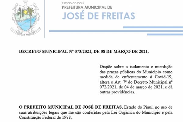 DECRETO MUNICIPAL Nº 073/2021, DE 08 DE MARÇO DE 2021.