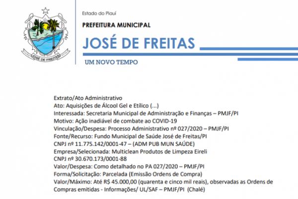 Extrato/ Processo Administrativo nº 027/2020 – PMJF/PI | Aquisições de Álcool Gel e Etílico (...)
