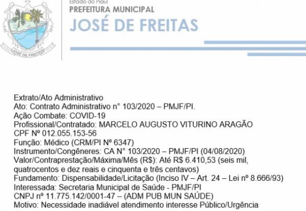 Extrato/Ato Administrativo Ato: Contrato Administrativo n° 103/2020 – PMJF/PI.