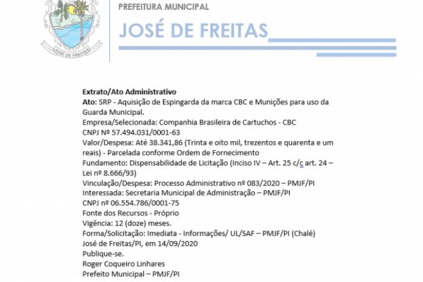 Ato: SRP - Aquisição de Espingarda da marca CBC e Munições para uso da Guarda Municipal.
