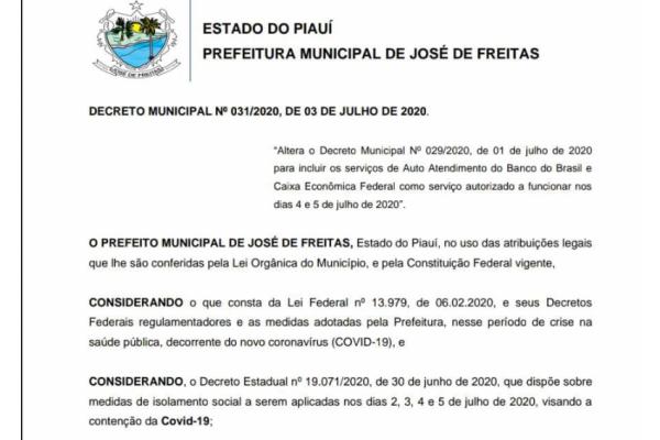DECRETO MUNICIPAL Nº 031/2020, DE 03 DE JULHO DE 2020