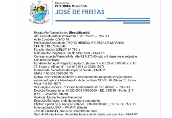 Ato: Contrato Administrativo/CA n° 0134/2020 – PMJF/PI Ação Combate