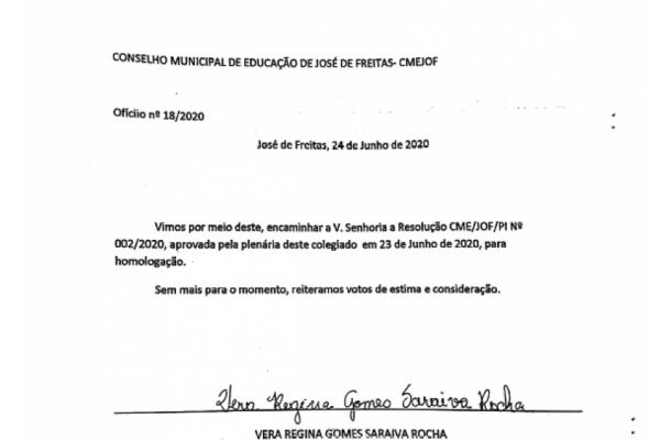 RESOLUÇÃO| AULAS REMOTAS JOSÉ DE FREITAS - PI