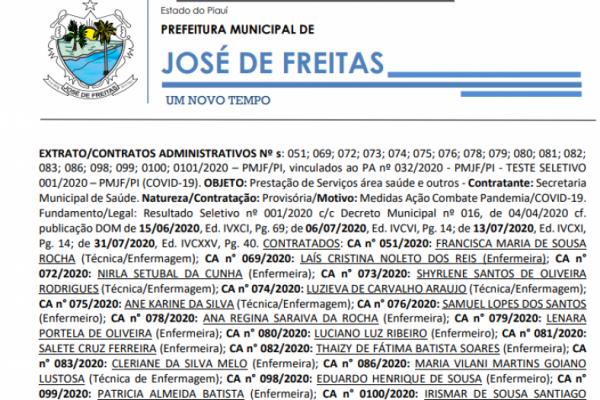 EXTRATO/CONTRATOS ADMINISTRATIVOS Nº s: 051; 069; 072; 073; 074; 075; 076; 078; 079; 080; 081; 082; 083; 086; 098; 099; 0100; 0101/2020 – PMJF/PI, vinculados ao PA nº 032/2020 - PMJF/PI - TESTE SELETIVO 001/2020 – PMJF/PI (COVID-19)