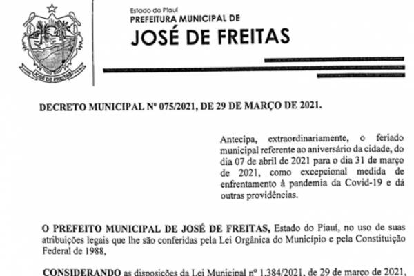 DECRETO MUNICIPAL Nº 075/2021, DE 29 DE MARÇO DE 2021
