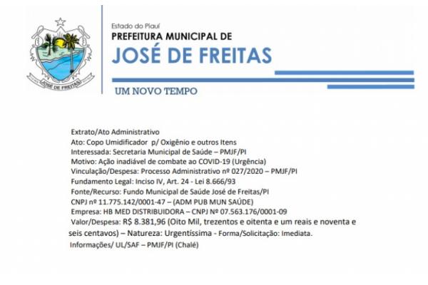 Vinculação/Despesa: Processo Administrativo nº 027/2020 – PMJF/PI | Ato: Copo Umidificador p/ Oxigênio e outros Itens