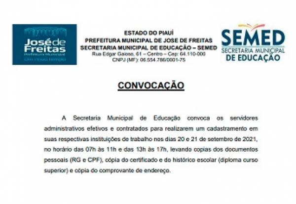 CONVOCAÇÃO SEMED - servidores administrativos efetivos e contratados