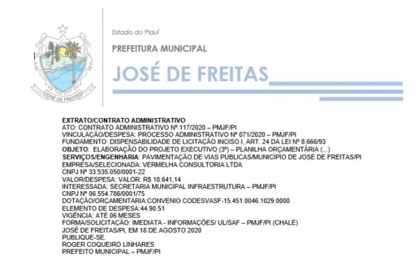 CONTRATO ADMINISTRATIVO Nº 117/2020 – PMJF/PI