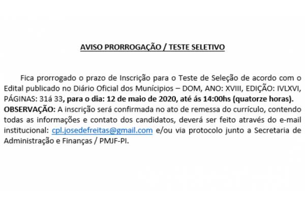 AVISO PRORROGAÇÃO / TESTE SELETIVO 001/2020