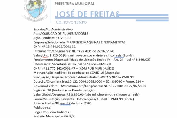 Extrato/Ato Administrativo Ato: AQUISIÇÃO DE PULVERIZADORES Ação Combate: COVID-19