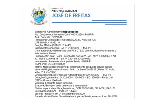 Ato: Contrato Administrativo/CA n° 0135/2020 – PMJF/PI