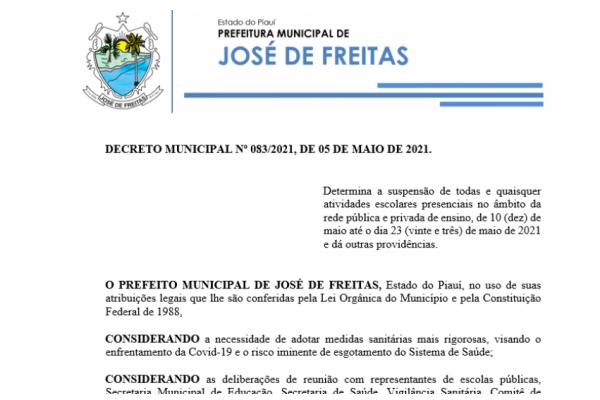 DECRETO MUNICIPAL Nº 083/2021, DE 05 DE MAIO DE 2021.