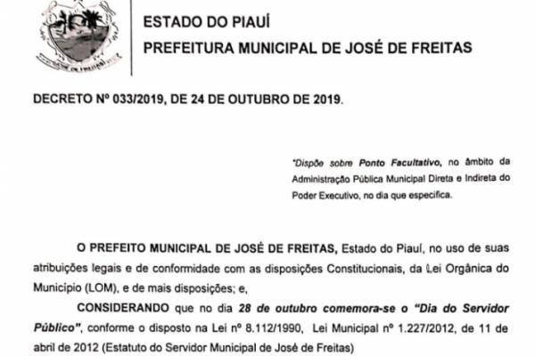 Decreto Nº33/2019| Ponto facultativo