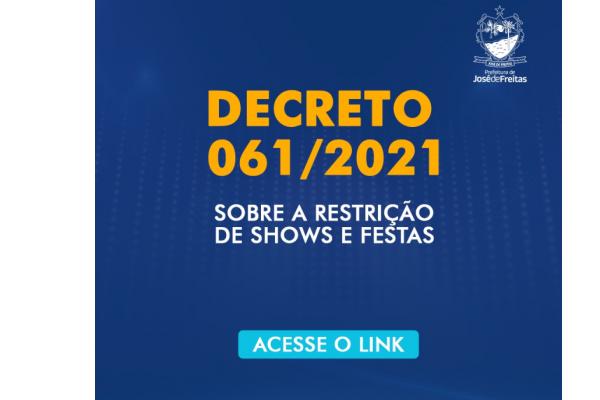 DECRETO MUNICIPAL N° 061/2021, DE 22 DE JANEIRO DE 2020.