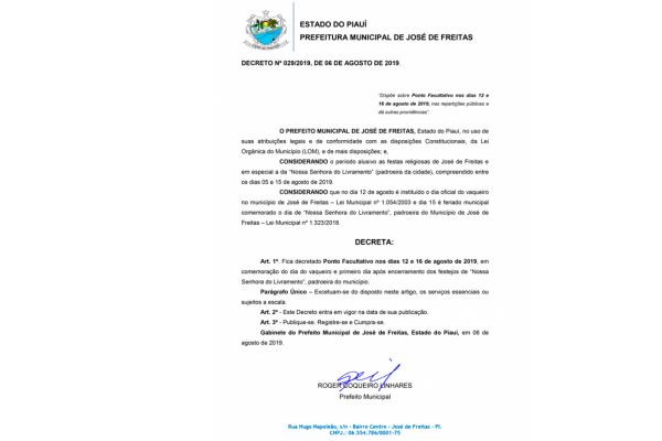 Ponto Facultativo| Prefeito Roger Linhares decreta ponto facultativo nos dias 12 e 16 de agosto de 2019