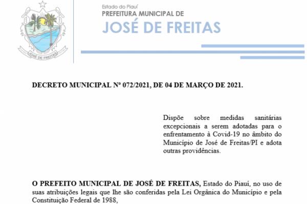 DECRETO MUNICIPAL Nº 072/2021, DE 04 DE MARÇO DE 2021.