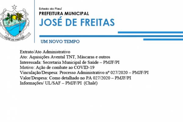 Extrato/ Processo Administrativo nº 027/2020 – PMJF/PI | Aquisições Avental TNT, Máscaras e outros