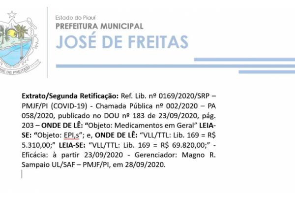Extrato/Segunda Retificação: Ref. Lib. nº 0169/2020/SRP – PMJF/PI (COVID-19)