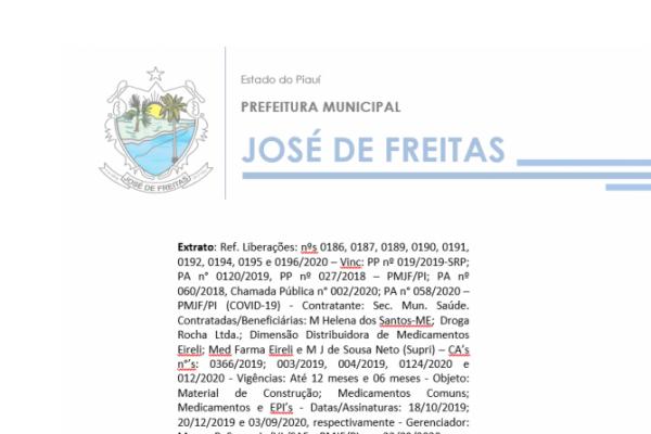 Extrato: Ref. Liberações: nºs 0186, 0187, 0189, 0190, 0191, 0192, 0194, 0195 e 0196/2020