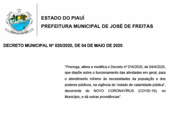 DECRETO MUNICIPAL Nº 020/2020, DE 04 DE MAIO DE 2020.