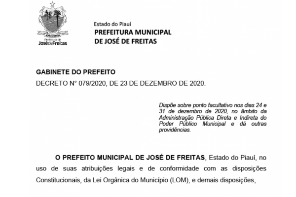 DECRETO N° 079/2020, DE 23 DE DEZEMBRO DE 2020.