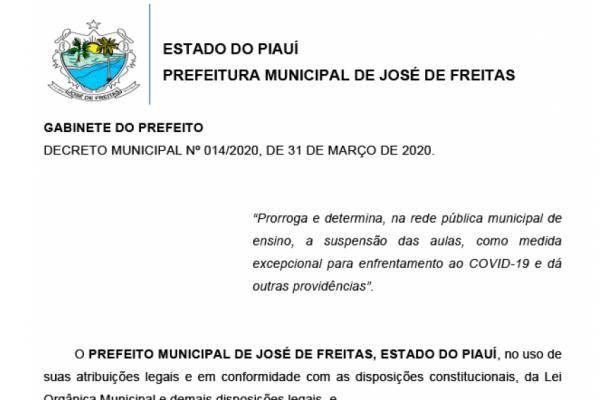 DECRETO MUNICIPAL Nº 014/2020, DE 31/03/2020.