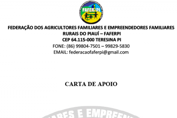 A FEDERAÇÃO DOS AGRICULTORES FAMILIARES E EMPREENDEDORES FAMILIARES RURAIS DO PIAUI EMITE CARTA DE APÔIO A PREFEITO MUNICIPAL