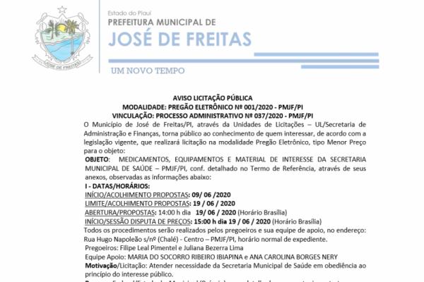 PREGÃO ELETRÔNICO Nº 001/2020 - PMJF/PI - MEDICAMENTOS, EQUIPAMENTOS E MATERIAL DE INTERESSE DA SECRETARIA MUNICIPAL DE SAÚDE – PMJF/PI