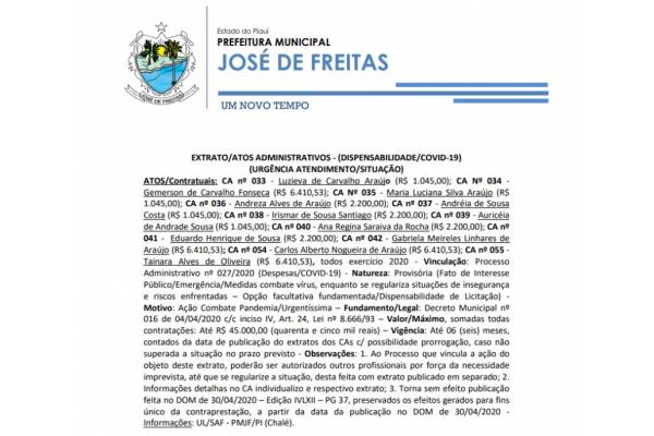 EXTRATO/ATOS ADMINISTRATIVOS - REF proc. adm 027/2020 (URGÊNCIA ATENDIMENTO/SITUAÇÃO