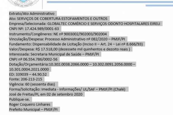 Ato: SERVIÇOS DE COBERTURA ESTOFAMENTOS E OUTROS