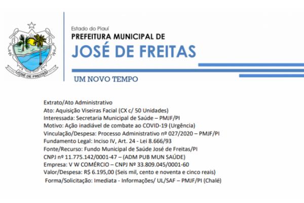 Vinculação/Despesa: Processo Administrativo nº 027/2020 – PMJF/PI aquisição de viseiras