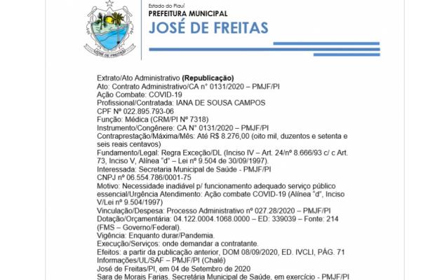 Ato: Contrato Administrativo/CA n° 0131/2020 – PMJF/PI